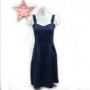 TRISTAN & ISEUT Sweetheart Neckline Denim Dress